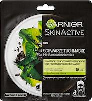 Maschera in tessuto nera con carbone di legna di bambù SkinActive Garnier