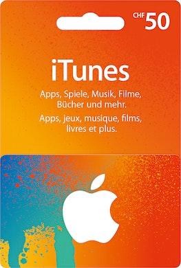 Carta regalo iTunes per un valore di CHF 50.–