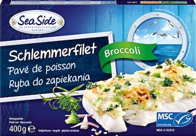 Bistecca di pesce al forno con broccoli Sea Side